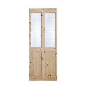 Image of 4 panel 2 Lite Frosted Glazed Knotty pine Internal Bi-fold Door set (H)1946mm (W)750mm
