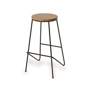 Image of Cooke & Lewis Maloux Black Oak Bar stool