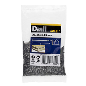 Image of Diall Lost head nail (L)15mm (Dia)1.25mm 125g Pack