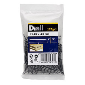 Image of Diall Lost head nail (L)25mm (Dia)1.25mm 125g Pack