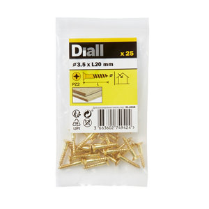 Image of Diall Brass Wood Screw (Dia)3.5mm (L)20mm Pack of 25