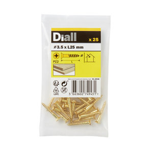 Image of Diall Brass Wood Screw (Dia)3.5mm (L)25mm Pack of 25