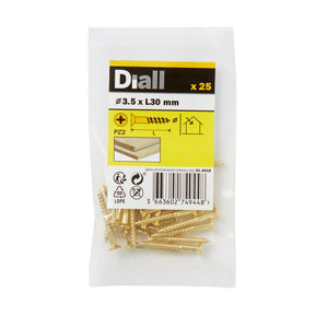 Image of Diall Brass Wood Screw (Dia)3.5mm (L)30mm Pack of 25