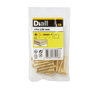 Image of Diall Brass Wood Screw (Dia)4mm (L)30mm Pack of 25