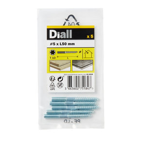 Image of Diall Yellow zinc-plated Carbon steel Dowel screw (Dia)5mm (L)50mm Pack of 5