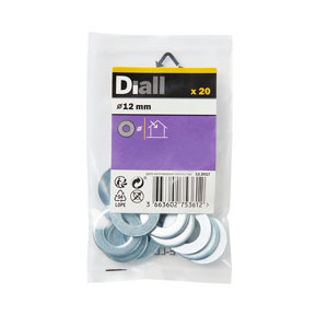 Image of Diall M12 Carbon steel Flat Washer Pack of 20