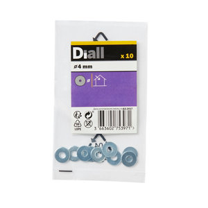Image of Diall M4 Carbon steel Penny Washer Pack of 10