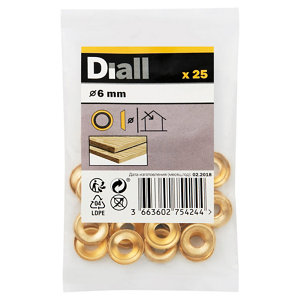 Image of Diall M6 Brass Screw cup Washer Pack of 25