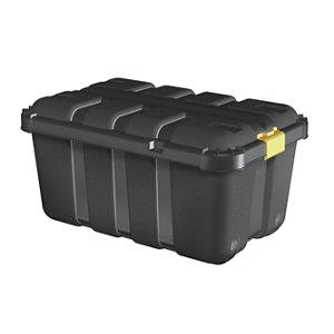 Image of Form Skyda Black 111L Plastic Storage trunk & Lid & castors
