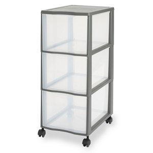 Form Kontor Clear & grey 44L 3 drawer Stackable Tower unit