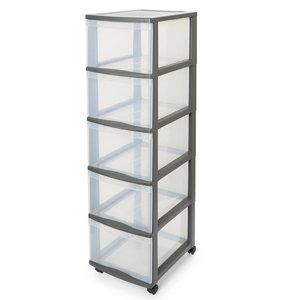 Image of Form Kontor Clear & grey 26L 5 drawer Plastic Tower unit