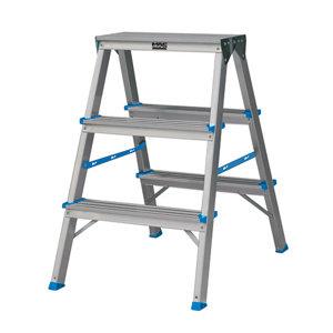 Mac Allister 3 tread Aluminium Step Ladder (H)0.65m