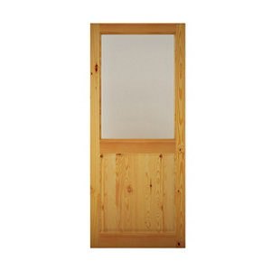 Image of Geom 2 panel Glazed Pine veneer LH & RH External Back Door (H)2032mm (W)813mm