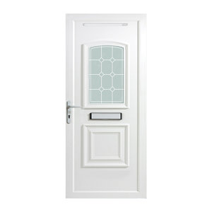 Image of B&Q Ashgrove 2 panel Diamond bevel Frosted Glazed White uPVC RH External Front Door set (H)2055mm (W)920mm