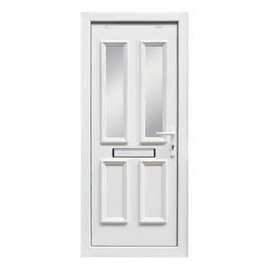 Image of 4 panel Diamond bevel Frosted Glazed White uPVC LH External Front Door set (H)2055mm (W)840mm