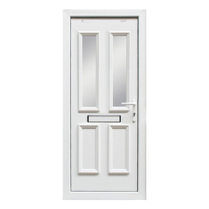 Image of 4 panel Diamond bevel Frosted Glazed White uPVC LH External Front Door set (H)2055mm (W)920mm