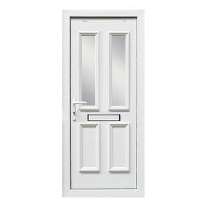 Image of 4 panel Diamond bevel Frosted Glazed White uPVC RH External Front Door set (H)2055mm (W)920mm
