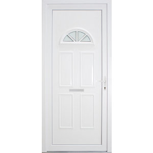 Image of B&Q Carolina Frosted Glazed White uPVC LH External Front Door set (H)2055mm (W)920mm