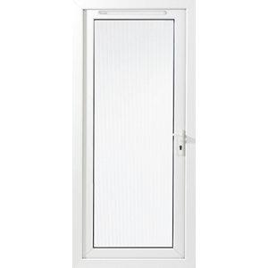 Image of Framed White PVC LH External Back Door (H)2060mm (W)840mm