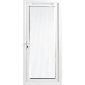 Image of Framed White PVC RH External Back Door (H)2060mm (W)840mm