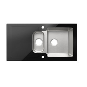 Image of Cooke & Lewis Christianna Black Stainless steel & toughened glass 1.5 Bowl Sink & drainer