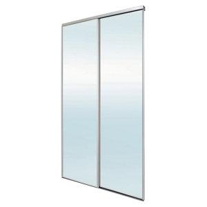 Image of Blizz Mirrored 2 door Sliding Wardrobe Door kit (H)2260mm (W)1200mm