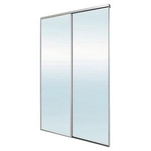 Image of Blizz Mirrored 2 door Sliding Wardrobe Door kit (H)2260mm (W)1500mm