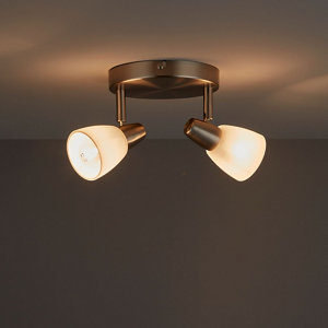 Image of Aphaea Brushed Chrome effect Mains-powered 2 lamp Spotlight