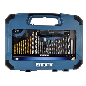 Image of Erbauer 100 piece Mixed Drill bit Set