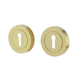 Image of Colours Polished Brass effect Zamac Door escutcheon (Dia)52mm Pack of 2