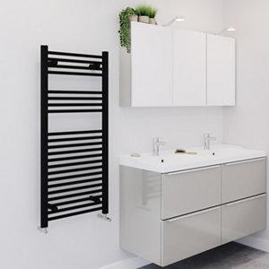 Image of Blyss 489W Electric Matt Black Towel warmer (H)1100mm (W)500mm