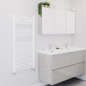 Image of Blyss 489W Matt White Towel warmer (H)1100mm (W)500mm
