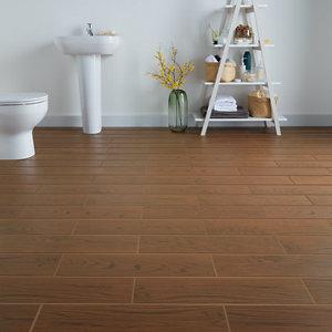 Image of Arrezo Brown Matt Wood effect Porcelain Wall & floor Tile Pack of 14 (L)600mm (W)150mm