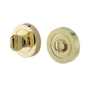 Image of Colours Beja Polished Brass effect Zamac Turn & release lock (Dia)52mm Pack of 2