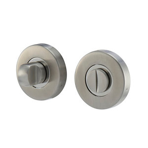 Image of Colours Lannion Satin Stainless steel Bathroom Turn & release lock (Dia)53mm Pair
