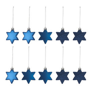 Image of Assorted Blue Star Decorations Pack of 10