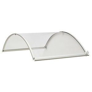 Geom Ramla Clear Glazed Aluminium & polycarbonate Arch Porch canopy  (W)1.4m (D)0.9m