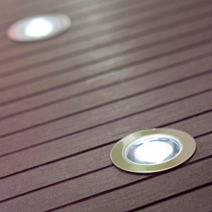 Image of Blooma Coldstrip Brushed Silver effect Mains-powered Neutral white LED Decking light Pack of 10