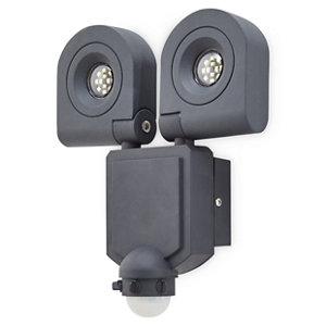 Blooma Dryden Gloss Charcoal grey LED PIR Motion sensor Outdoor Wall light 10W