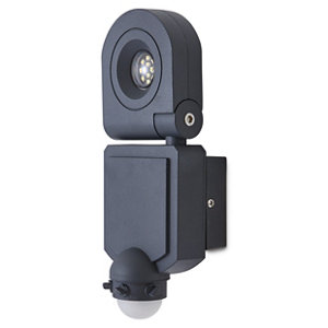 Image of Blooma Dryden Gloss Charcoal grey LED PIR Motion sensor Outdoor Wall light
