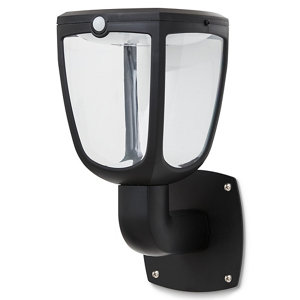 Blooma Seldovia Lantern Non-adjustable Matt Black Solar-powered LED PIR Motion sensor Outdoor Wall light