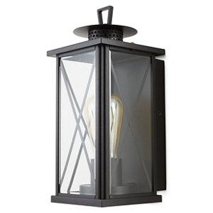 Image of Blooma Belleterre Matt Black Mains-powered Halogen Outdoor Wall light