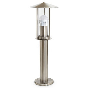 Image of Blooma Chignik Brushed Silver effect Mains-powered Halogen Post light