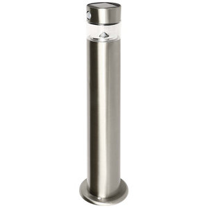 Image of Blooma Kiana Brushed Silver effect Solar-powered LED Outdoor Post light