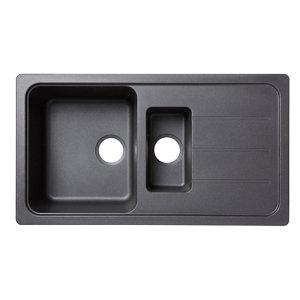 Image of Cooke & Lewis Arber Black Composite quartz 1.5 Bowl Sink & drainer