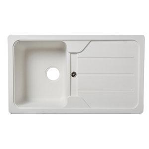Image of Cooke & Lewis Arber White Composite quartz 1 Bowl Sink & drainer