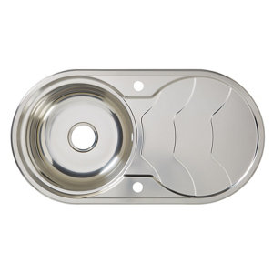 Image of Cooke & Lewis Jemison Polished Stainless steel 1 Bowl Sink & drainer