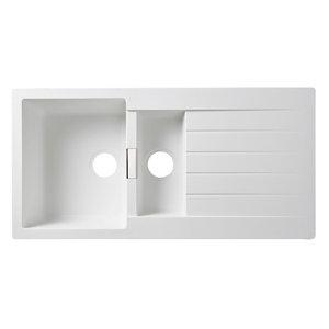 Image of Cooke & Lewis Galvani White Composite quartz 1.5 Bowl Sink & drainer