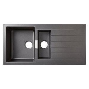 Image of Cooke & Lewis Galvani Grey Composite quartz 1.5 Bowl Sink & drainer