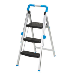 Mac Allister 3 tread Aluminium Foldable Step stool (H)1.1m